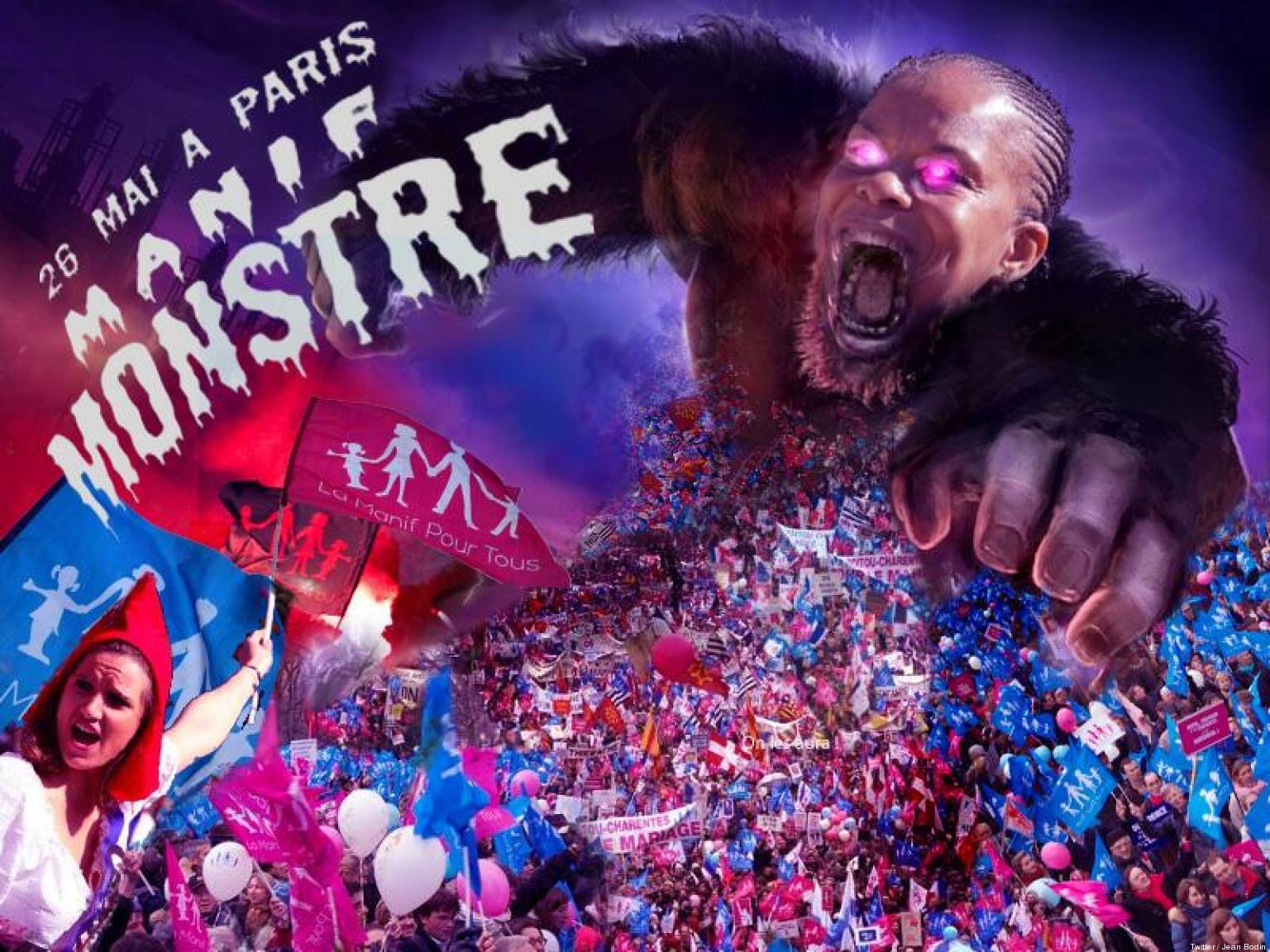 Une affiche de la Manif pour tous caricature Mme Taubira en King Kong. De mauvais goût ? Limite raciste ? Photo Huffington Post