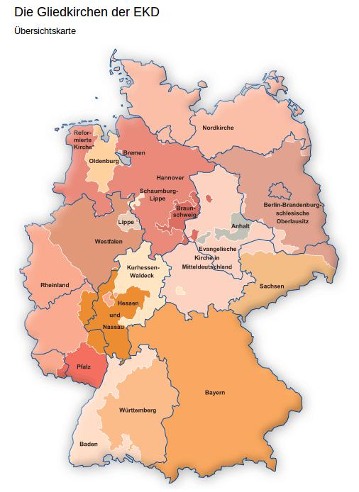 Les 20 Églises régionales protestantes ont des racines anciennes. Leurs frontières ne correspondent pas à celles des Länder actuels. Source: EKD.