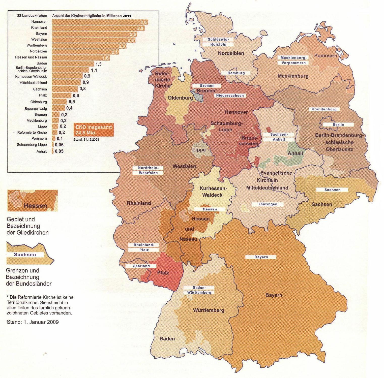 """EKD: carte des églises régionales et nombre de membres en millions. Jusqu'en 2010, il y avait 22 """"Landeskirchen""""."""