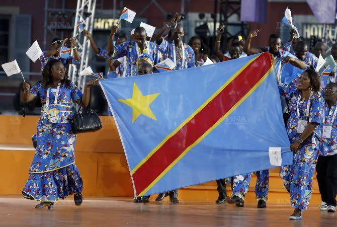La délégation de la RDC lors de la cérémonie d'ouverture des Jeux de la Francophonie, via AFP