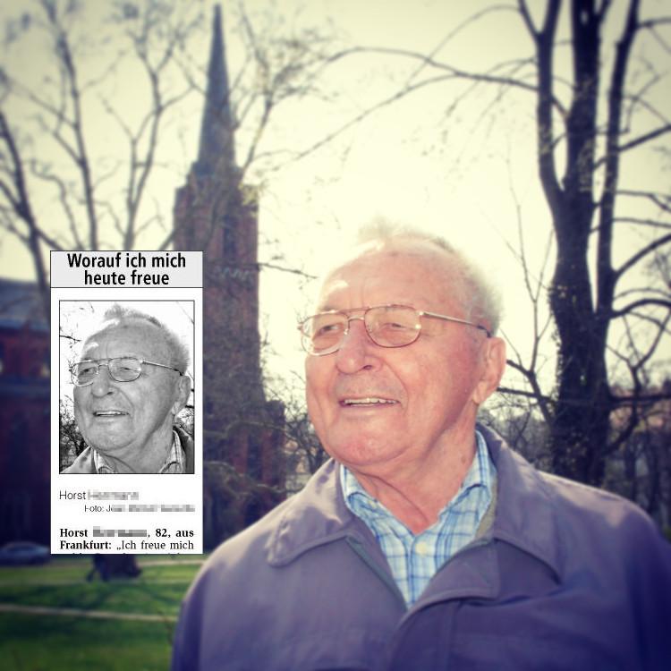 Horst se réjouit de son 83ème anniversaire et de la visite de son fils et de sa petite-fille.