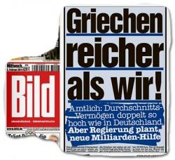 """Couverture de Bild le 5 février 2014: """"Les Grecs sont plus riches que nous!"""" (De quel droit?) © Bildblog.de"""