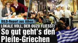 Bild en reportage à Athènes: les bars pleins à craquer, l'ouzo coule à flot. Tout baigne pour les Pleite-Griechen! © Lower Class Mag